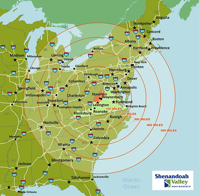 Maps - Harrisonburg Economic Development  Mile Radius Map on custom radius map, 400 miles by 300 miles map, radius point on a map, printable radius map, google maps radius tool map,